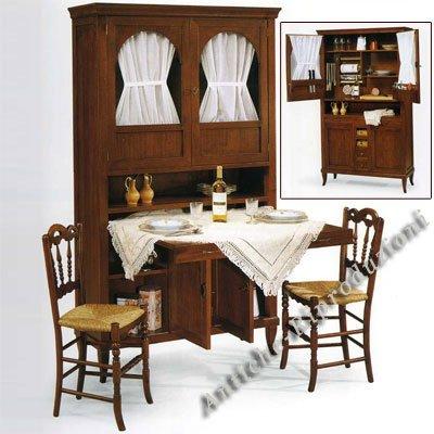Möbel Buffet, Buffetschrank, Küchenbuffet cm 110x37, h 196 Holz, Klassisch, Italienischer Produktion