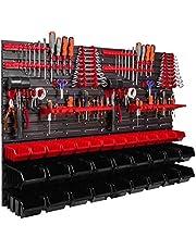 Opbergsysteem wandrek 1152 x 780 mm, gereedschapshouders, stapelboxen opbergkasten, extra sterke wandplaten, rek uitbreidbaar (ITBNN600x4-U2020-MIX16)