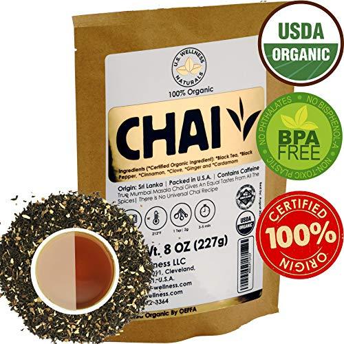 Classic Chai Tea Loose Leaf | CEYLON (110+ Cups) | 100% CERTIFIED ORGANIC Chai Ingredients| Black Tea, Cinnamon, Cardamom, Cloves & Black Pepper | Brews Chai Latte | Ancient Indian House Recipe | 8oz