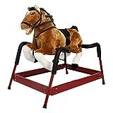 Peach Tree Baby Kids Toy Plush Rocking Horse Boy Riding Rocker with Sound, Dark Brown