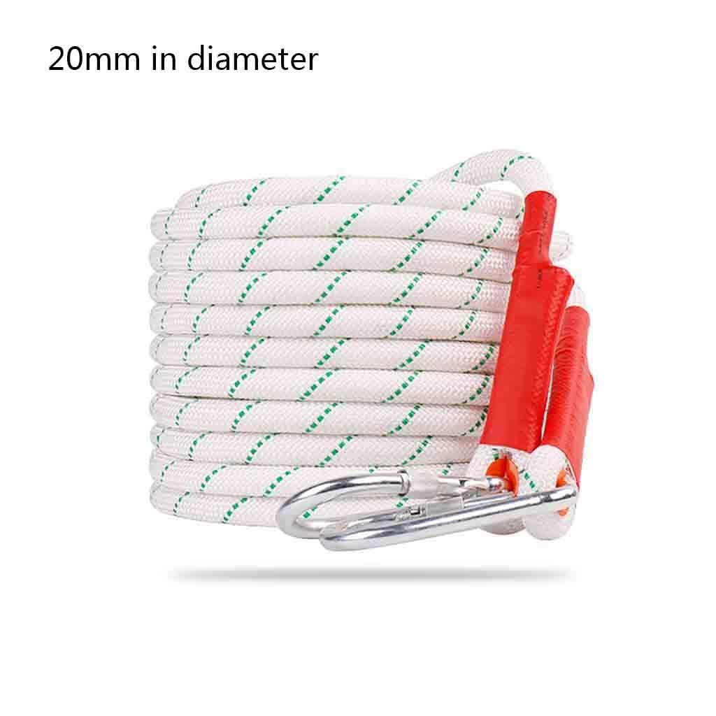 30 meters équipement d'escalade Il peut supporter une corde de sécurité blanche de 2 600 kg, un polyester résistant à l'usure avec un fil d'acier à l'intérieur et une corde d'extérieur en polyester d