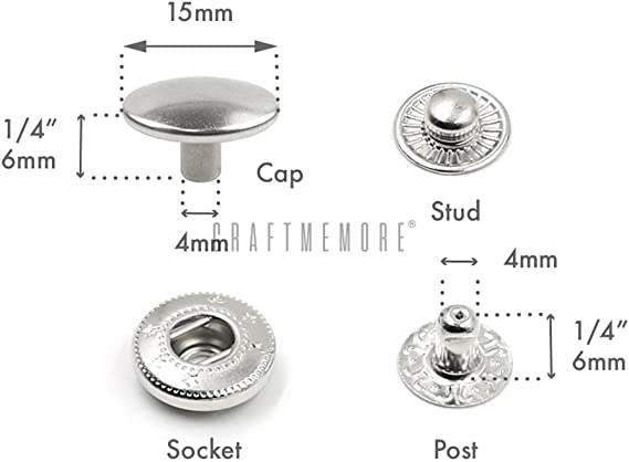 0.59 15mm CRAFTMEmore 50 Pack Multi-Size Gold Plating Snap Buttons S-Spring Socket Popper Fasteners Jacket Bag Closures