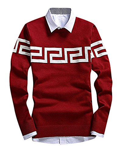 CELINO Men's Fine Knit Geometric Pattern Slim Ribbed Trim Long Sleeve Pullover, 222RedWine XS ,Manufacturer(M)