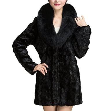 BETTERUU UFACE Womens Warm Artificial Wool Coat Fur Collar Jacket Winter Parka Outerwear