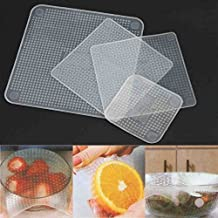 Food Wraps-NACOLA 4PCS Multifunction Food Fresh Keeping Saran Wrap Bags Reusable Silicone Food Wraps Seal Cover Stretch Vacuum Cover