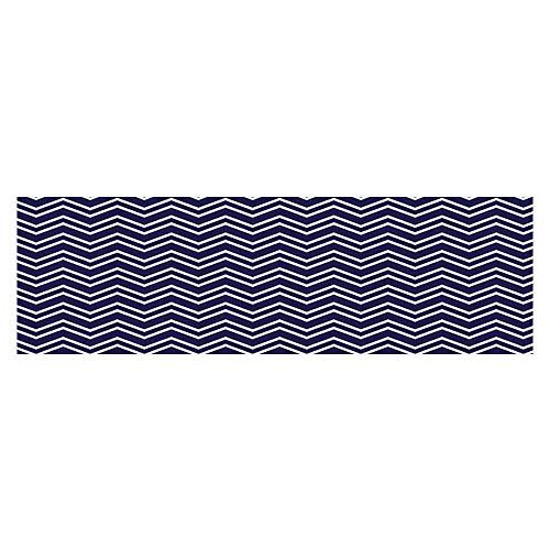 Philip C. Williams Fish Tank Decorations Navy Blue Back Grounded Zig Zag Patterned Modern Artwork Bathroom PVC Paper Cling Decals Sticker ()