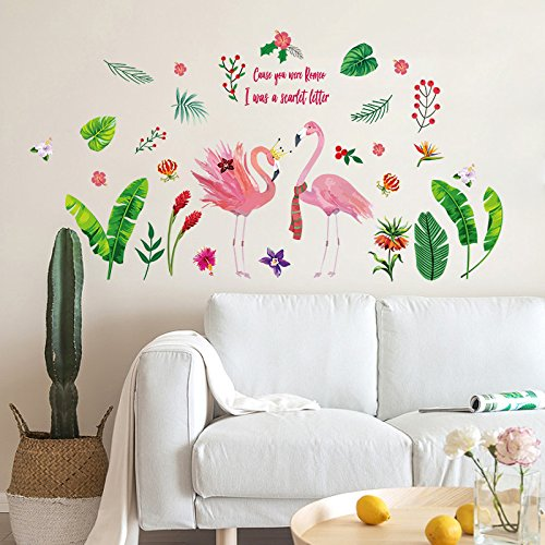Creative Hand-Painted Flamingo Flower Series Wall Sticker for Living Room, Bedroom, Shop Decoration, Wall Sticker and Wallpaper,E,in