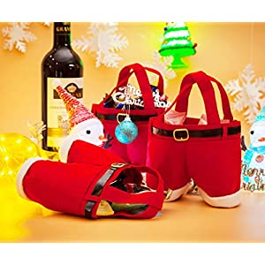3 Pack Holiday Candy Gift Bags, Small Red Santa Claus Pants Wedding Wine Holder Shopping Storage Pouch Stocking Filler Treat Present Chocolate Sack for Kids Girls Birthday