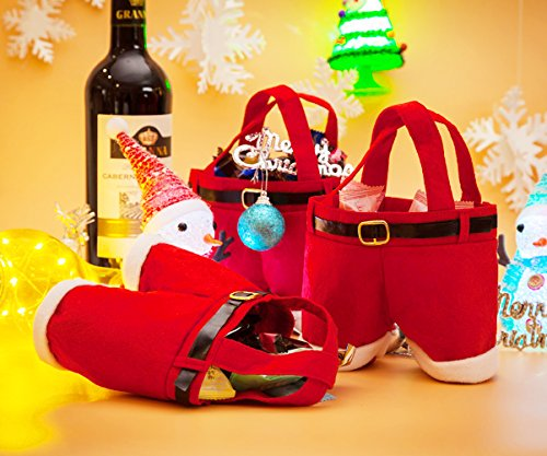 3pcs Candy Bag Christmas Gift Santa Claus Pants Wedding Wine Holder Xmas Shopping Storage Bags Stocking Filler Treat Present Chocolate Handbag for Kids (Red)