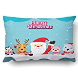 Emvency Pillowcases Xmas Dec Santa Claus And Animals On Roof Merry Christmas Happy New Year Festive Celebrations Pillow Case Cushion Cover Case Throw Pillow Case Lumbar 20x30 Inch