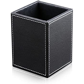 KINGFOM PU Leather Square Pens Pencils Holder Desk Organizer Office Desk Accessories Container Box (black)