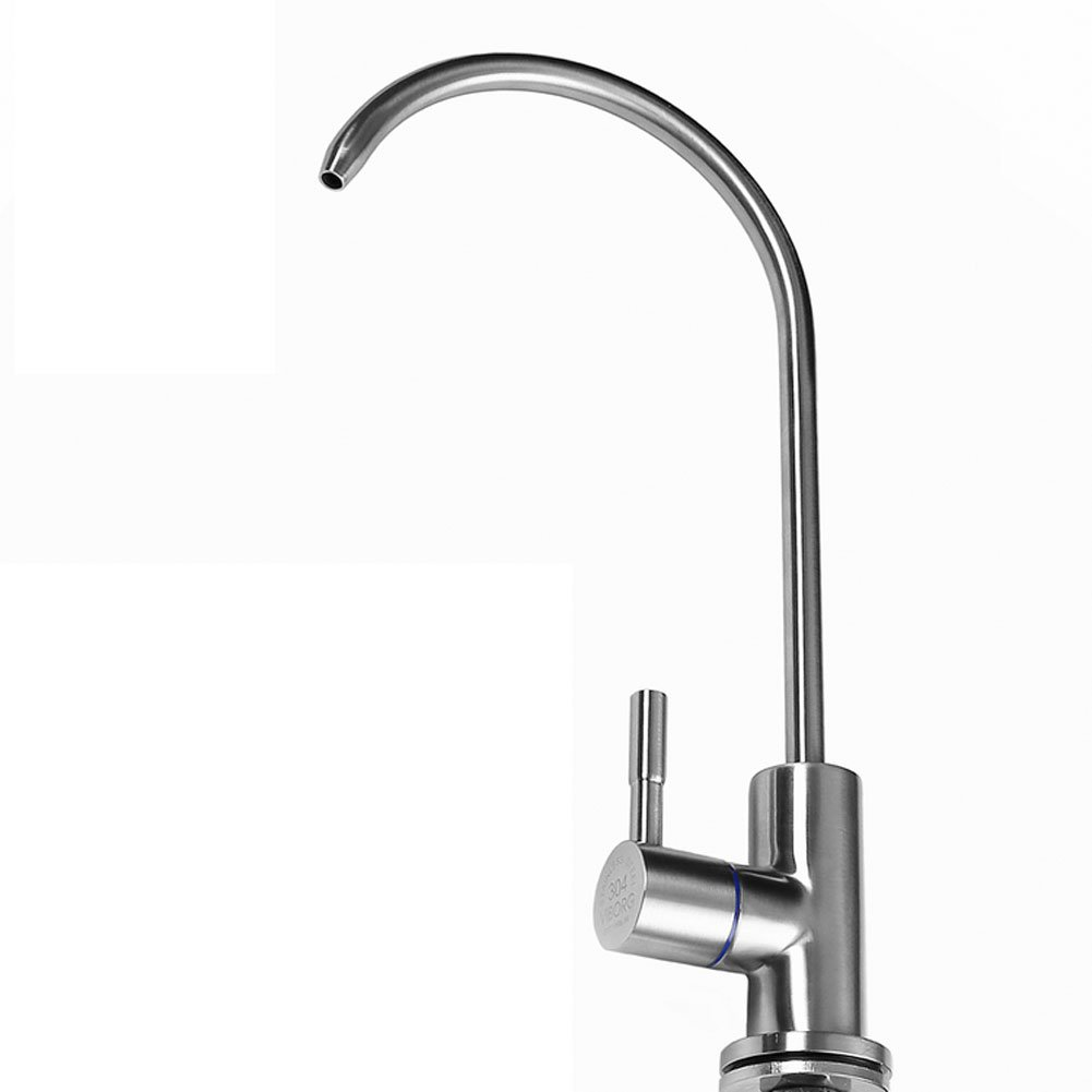 VIBORG-HK Deluxe Top Quality Sus304 Stainless Steel Lead-free Kitchen Drinking Water Filter Faucet Filtration System Purifier Faucet Tap for Filtered Water, Satin Nickel Brushed, Ks-b404S