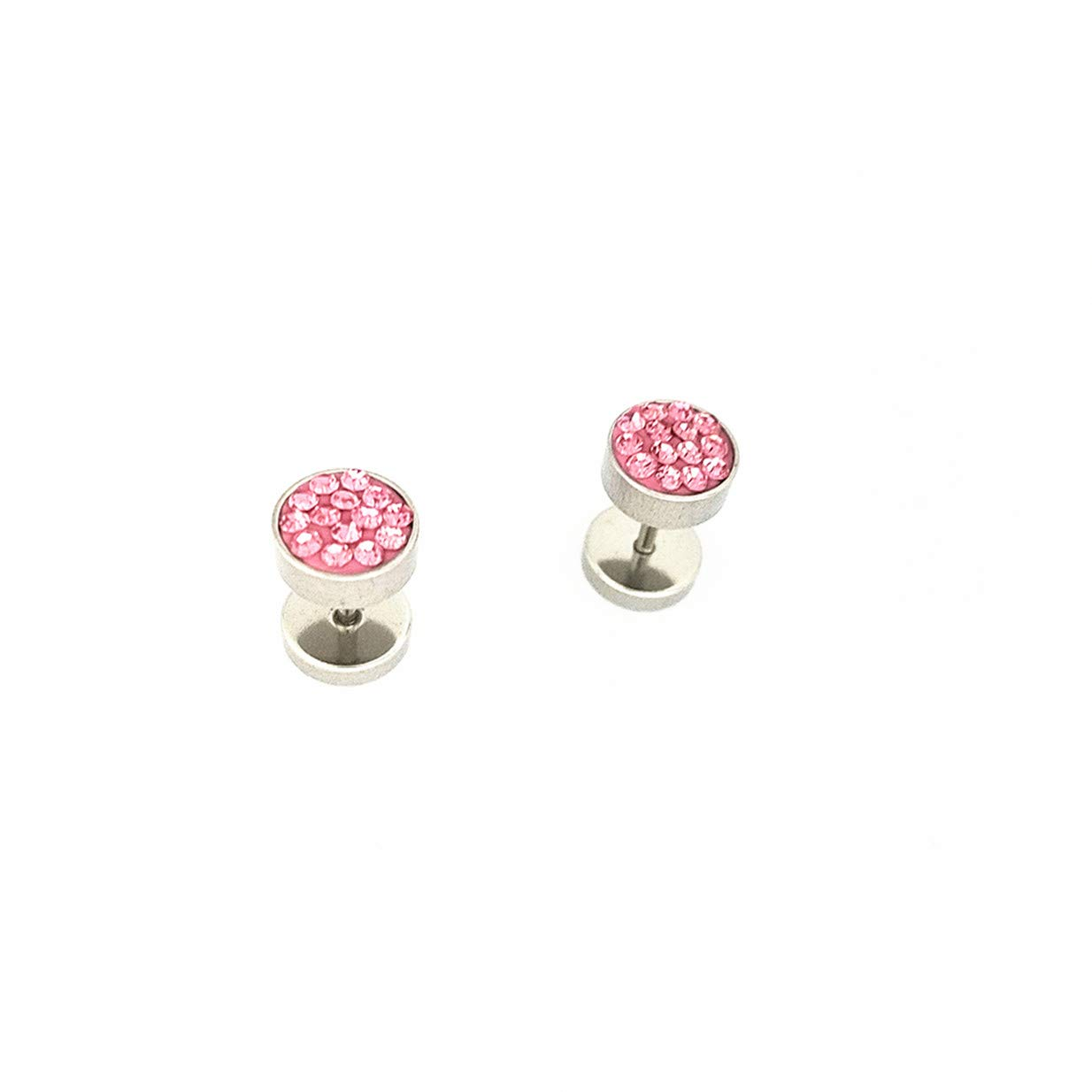 LALANG Simple Unisex Round Stainless Steel Crystal Punk Ear Studs Earrings(Pink Crystal)