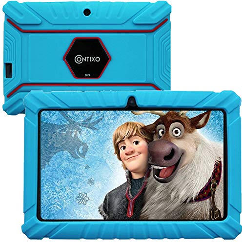 """Contixo V8-2 7"""" Edition Android 16GB Kids Tablet Parental Control 20 Learning Education Apps on Google Certified Playstore Toy Tablet for Kids, Kids- Proof, WiFi Camera Best Gift (Blue)"""