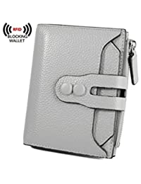 BIG SALE-30% OFF Yaluxe Women's RFID Blocking Security Leather Small Billfold Wallet Pebbled Grey