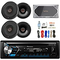 Pioneer DEHS4000BT DIN CD USB AUX Bluetooth Radio, with 4x Infinity 6522 Reference Series 6.5 Coaxial 330-Watt Speakers, Reference Series REF-704A 4-Channel Car Audio Amplifier, Enrock Amp Kit