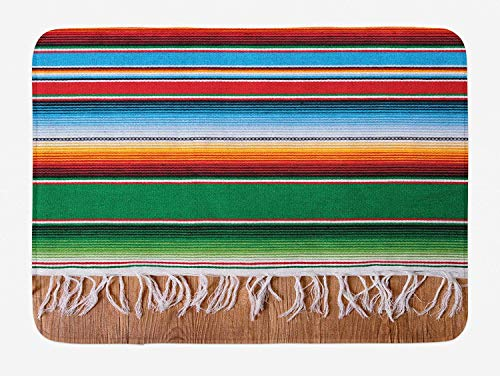(RS-pthr Mexican Bath Mat, Boho Serape Blanket with Horizontal Stripes and Lines Authentic Cultures Picture, Plush Bathroom Decor Mat with Non Slip Backing, 16 W X 24 W Inches, Multicolor)