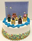 Super Mario Brothers Game Scene Birthay Cake Topper Featuring 2' Figures of Mario, Luigi, Mushroom, Goomba, Koopa Troopa and Decorative Themed Pieces