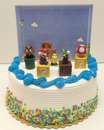 Super Mario Brothers Game Scene Birthay Cake Topper Featuring 2