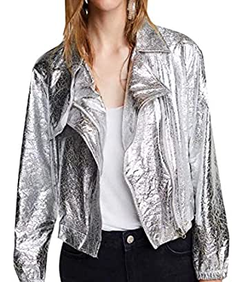 Andopa Womens Smooth Rocker Punk New Liquid Leather Coat