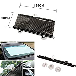 Triclicks Retractable Car Curtain Front Window Shade Windshield Shield Visor Sunshade