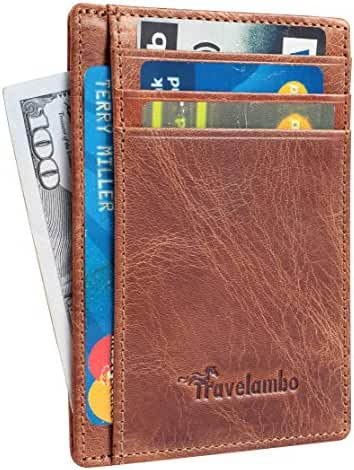 Travelambo Front Pocket Wallet Minimalist Wallets Leather Slim Wallet Money Clip RFID Blocking