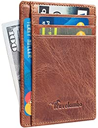 Travelambo Front Pocket Wallet Minimalist Wallets Leather...