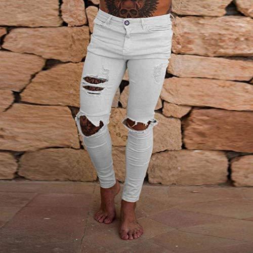 Strappato Per Cher Fit Denim Estivi Streetwear Sport Chino Fori Chiusura Stretch Pantaloni Moto Uomo Jeans Slim Bianca Cargo xFqw7YYA