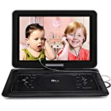 2018 Upgraded DR.J Professional 14.1 inch 7 Hours Portable DVD Player with Build-in Rechargeable Battery, 270°Swivel Screen, 5.9 ft Car Charger and SD Card Slot and USB Port, 2 x Earphones