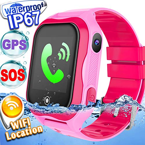 Kid Smart Watch Phone GPS Tracker Accurate WiFi Locator IP68 Waterproof Safety Smartwatch Holiday for 3-12 Year Girl Boy Game Smart Wristwatch SOS Camera Anti-Lost Back to School