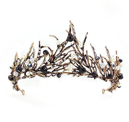- Wiipu Antique Brass Leaves Black Crystal Adult Tiara Crown(A1218)