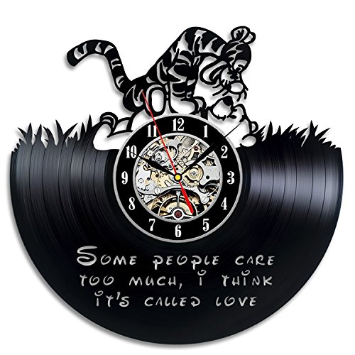 [Winnie The Pooh Vinyl Record Wall Clock - Contemporary Walt Disney Fan Art Design - Get unique home wall decor - Gift Ideas for boys and girls] (Winnie The Pooh Costume Ideas)