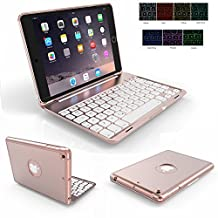 iPad Mini 1/2/3 Keyboard Case,Genjia Portable Carrying Aluminum Holder Wireless Bluetooth Keyboard Hard Case with Backlit Ultra-thin Folio Cover Flip Smartcover for iPad Mini 1,2,3 (Rose Gold)