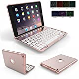 iPad Mini 4 Case Keyboard,Genjia Portable Carrying Holder Aluminum Alloy Bluetooth Wireless Keyboard Backlit Flip Hard Cover Scratch Proof Auto Sleep/Wake Smartcover for Apple iPad Mini 4 - Rose Gold