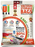 DIBAG Pack of 6 ( 130X90 cm) Vacuum Storage Space Saver Bags .For Clothes , Duvets, Bedding, Pillows, Curtains & More..