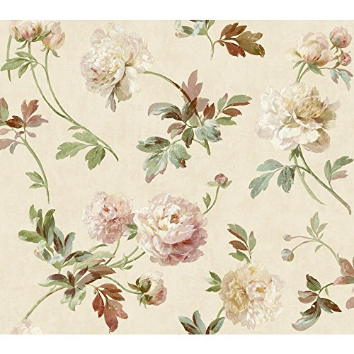 York Wallcoverings GX8155SMP Passport Whitworth Peony Wallpaper Memo Sample, 8-Inch x 10-Inch, Cream, Linen, Turquoise, Deep Pink, Rose, Stem Green, Grass Green, Robin Egg Blue, Cream, Antique White (Peony Linen)