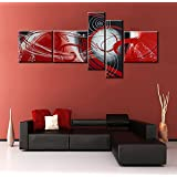 Globalartwork- Handmade 5 Panel Black and White Modern Abstract Oil Painting on Canvas Wall Art Pictures for Living Room Framed Ready to Hang As Unique Gift (red)