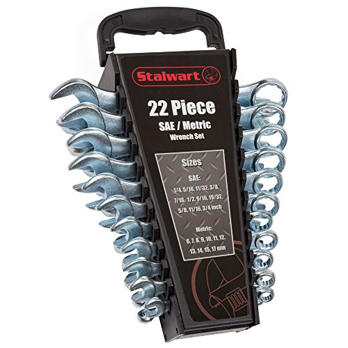 - Stalwart 75-HT3009 Combo SAE & Metric Wrench Set with Carry Case, 22 Piece