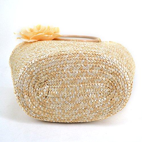 Bag Women Handbag white Holiday with Beach Straw Bag Woven Off Summer Shoulder Top Tote handle Flower MEGA cI7TdWqT