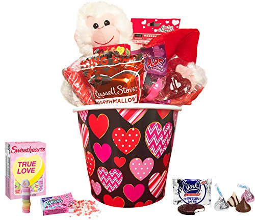 Valentine Day Gift For Her & Him - Valentines Gifts Basket Set For Kids - All Premium Brand Name Chocolate & Sweets Gift Baskets