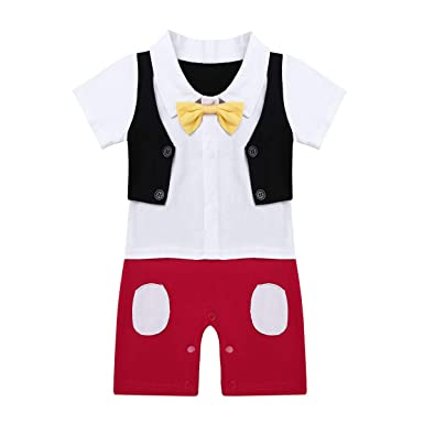 YiZYiF Mono de Caballero De Una Pieza Mameluco con Pajarita Pelele Bebé Niños Manga Corta Trajes de Bautizo Camisa 6-24 M: Amazon.es: Ropa y accesorios