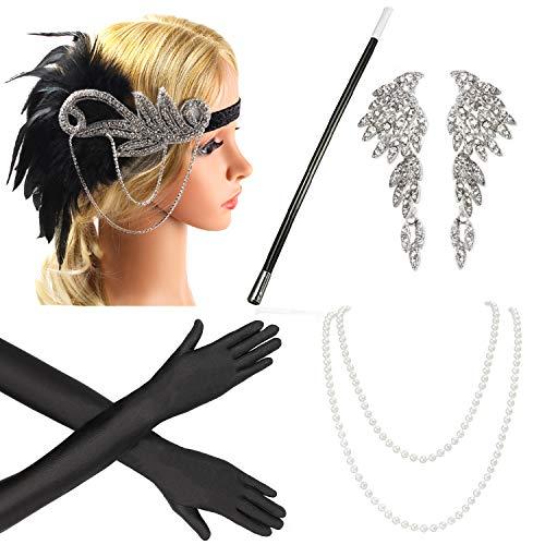 Beelittle 1920s Accessories Headband Earrings Necklace Gloves Cigarette Holder (E3)