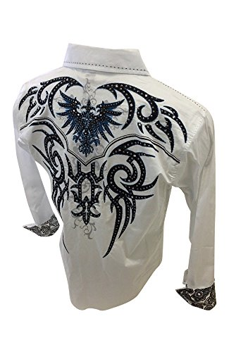 Men's Victorious Long Sleeve Button Down Shirt Tribal Phoenix Bird Embroidery with Stones White Blue Paisley Trim SH401 (Tribal Button Down Shirt)