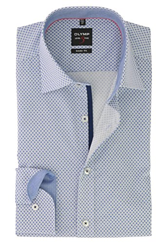 OLYMP Herren Langarm Business & Freizeit Hemd Level Five Body Fit mit New York Kent Kragen Comfort Stretch & Bügelleicht Gr.46 Royal