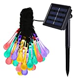 Solar Strings Lights, 20 Feet 20 LED Water Drop Solar Fairy Lights, Waterproof Lights for Garden, Patio, Yard, Home, Parties- Multi Color