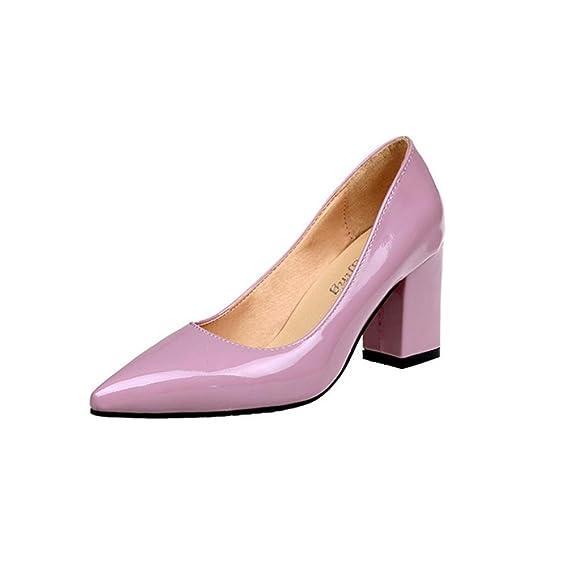 65e2aea69bc04 Fasion SHOES,Women's Dress Party Rhinestone Chunky Heel Pump Pointed Toe  Shallow High-Heeled Shoes (7.5cm) Duseedik Promotion# (Pink, US:9.5(CN:41))