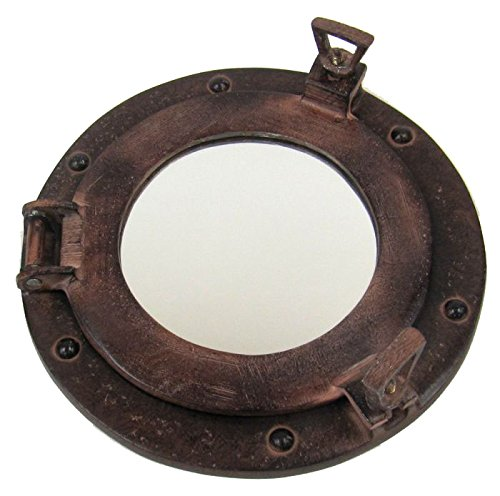 Firefly Home Collection Rust Finish Aluminium Porthole Wall Decor with Mirror, 9