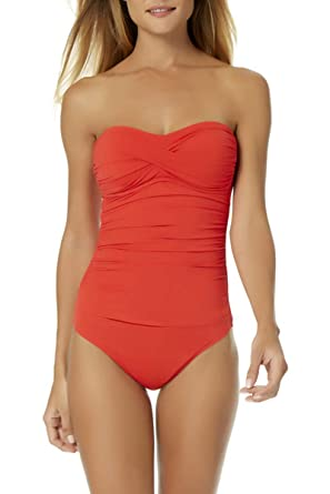 221b0c9161c Anne Cole Women's Live in Color Twist Front Shirred Bandeau One Piece  Swimsuit at Amazon Women's Clothing store: