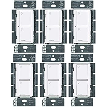 Lutron PD-6ANS-WH Caseta Wireless Smart Lighting Switch for All Bulb Types and Fans (White, 6 Pack)