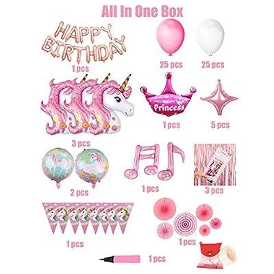 Unicorn Themed Balloon Birthday Party Backdrop Decorations, Colorful and Lovely Unicorn Balloon Party Backdrop Decorations For Birthday Party, Unicorn,HAPPY BIRTHDAY Banner,Folding Fan,Unicorn Flag,Latex Balloons,Star Balloon